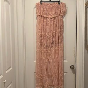 Pink lace overlay strapless romper